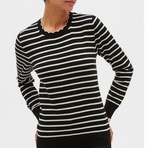 BR Forever Stripe Scallop Crew-Neck Sweater